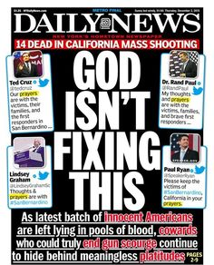 The New York Daily News's very provocative front page on the San Bernardino shooting
