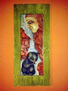 Kotě+Řezba+z+lipového+dřeva,+malováno,+voskováno.+Rám+je+ze+strukturovaného+smrku.+Rozměry+š+30,+v+65,+h+2.5cm. Painting, Painting Art, Paintings, Painted Canvas, Drawings