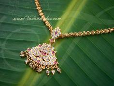 Attikai /Addikai sparkling white and pink stones closed neck necklace. Kerala Design American Diamond Necklace Set