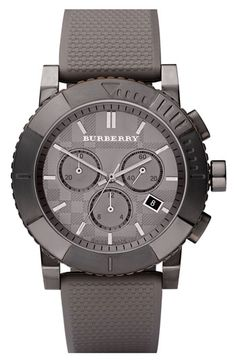 Burberry Rubber Strap Round Chronograph Watch available at #Nordstrom I love the color