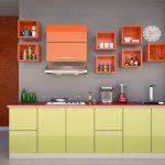 modern modular kitchen designs with orange and light green cabinets