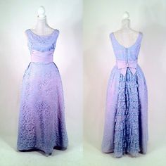 Vintage 1950s Lilac Purple Lace Dress Gown  Ruffled by SLVintage, $95.00