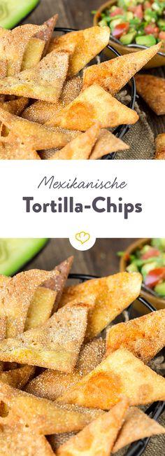 Selbstgemachte Tortilla Chips bringen ein Stück Mexiko in die heimische Küche. Mit oder ohne Dip - der perfekte Snack.