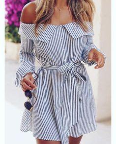 #Stripes #Offheshoulder With #Sunglasses