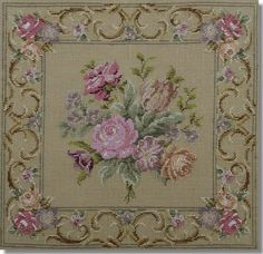Beverley Trammed Tapestry: Fine mesh floral spray with border