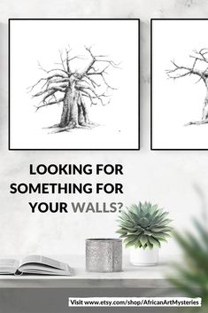 Minimalist, black-and-white ink drawings of baobab trees for your bedroom or living room. Visit my Etsy store to shop my printable wall art inspired by African nature. #wallart #DIY #printable #livingroom #bedroom #decor #large #bathroom #prints #kitchen #painting #ideas #minimalist #blackandwhite #sets #modern #minimal #tree #entryway #etsy Grey Wall Art, Black And White Wall Art, White Ink, Artwork For Living Room, Living Room Pictures, Wall Art Decor, Wall Art Prints, Baobab Tree, Bathroom Prints
