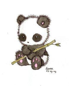 Dessin de panda avec un bambou.