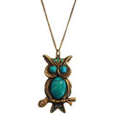 I love this necklace! I guess owls are popular right now ... Owl necklace with turqouise bronze