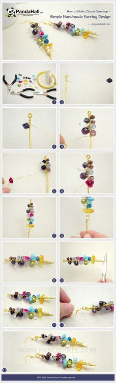 Jewelry Making Tutorial-How to Make Cluster Earrings | PandaHall Beads Jewelry Blog
