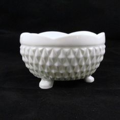 """Vintage Milk Glass Bowl, Diamond Point, Indiana Glass Circa 60's - 70's A cute little footed bowl made by Indiana Glass. The diamond point pattern was first produced in 1965. This pattern was discontinued around 1990. The milk glass bowl is about 5"""" across and 3"""" tall."""