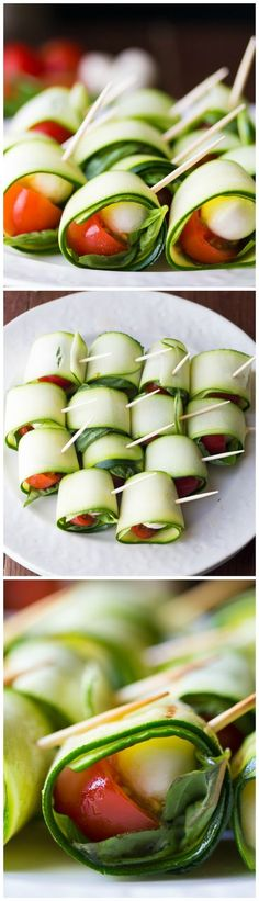 Grilled Zucchini Caprese Roll-Ups. To make it a vegan delight change for a vegan cheese alternative. Tapas, Appetizer Recipes, Snack Recipes, Cooking Recipes, Caprese Appetizer, Healthy Snacks, Healthy Recipes, Snacks Für Party, Appetisers