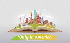 travel to north america. open book with landmarks. only in america. Only In America, North America, Fall Travel Outfit, Snack Video, Travel Logo, Open Book, Paris Travel, Healthy Dinner Recipes, Travel Inspiration