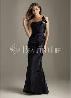 $183.49  Fashion Black Satin Oblique Off-The-Shoulder Mermaid Evening Gown  #mermaid #evening #gown