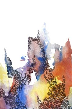 abstract watercolor art print in red, yellow, purple, blue. $25.00, via Etsy.