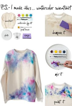 diy watercolor sweatshirt id like it in sky print