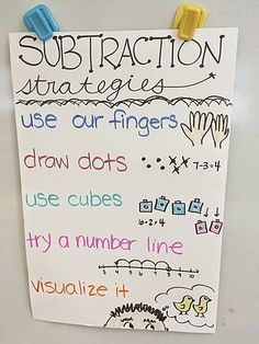 Subtraction strategies anchor chart for kindergarten or first grade! charts for kindergarten Subtraction Strategies, Subtraction Kindergarten, Kindergarten Anchor Charts, Subtraction Activities, Math Anchor Charts, Math Strategies, Math Resources, Math Activities, Anchor Charts First Grade