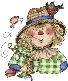 Scarecrow with bird & butterfly Autumn Crafts, Autumn Art, Decoupage Vintage, Fall Halloween, Halloween Crafts, Fall Clip Art, Arte Country, Halloween Drawings, Halloween Art