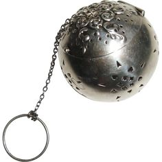 Sterling Silver Repousse Tea Ball Infuser Stars Watrous Antique