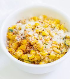 """This Mexican Corn Salad also known as """"Esquites"""" is super easy to make. It makes for a great side dish or as a snack.This Mexican Corn Salad also known as """"Esquites"""" is super easy to make. It makes for a great side dish or as a snack. Corn Recipes, Vegetable Recipes, Mexican Food Recipes, Ethnic Recipes, Mexican Drinks, Mexican Side Dishes, Side Dishes Easy, Mexican Corn Salad, Eat Healthy"""