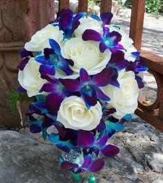 Gilded Petals, Blue Orchid, White Rose Cascade Bouquet love it Purple Wedding, Dream Wedding, Floral Wedding, Peacock Wedding Flowers, Floral Flowers, Blue And Purple Orchids, Purple Calla Lilies, Petal Floral, Dendrobium Orchids
