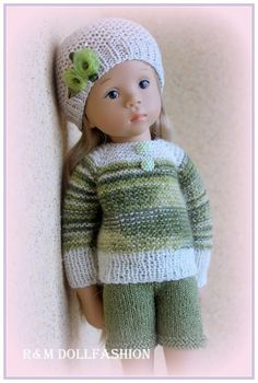 """OOAK handknitted outfit for Fanouche 18"""" Natterer doll"""