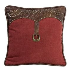 Delectably Yours Ruidoso Red with Leather Trim Pillow by HiEnd Accents #DelectablyYours Western Southwestern Decor