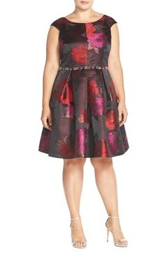 Eliza+J+Embellished+Floral+Fit+&+Flare+Dress+(Plus+Size)+available+at+#Nordstrom