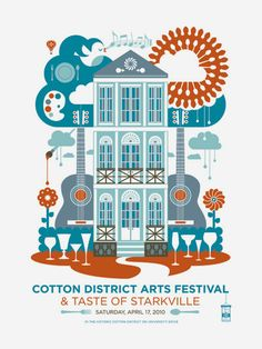 Cotton District Art Festival poster by Jude Landry Graphic Design Layouts, Graphic Design Posters, Graphic Design Typography, Graphic Design Illustration, Graphic Design Inspiration, Illustration Art, Technical Illustration, Festival Posters, Art Festival