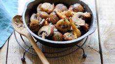 Poêlée de champignons aux châtaignes. Saveur, International Recipes, Bon Appetit, Healthy Eating, Easy, Champions, Chicken, Diy Projects, Food