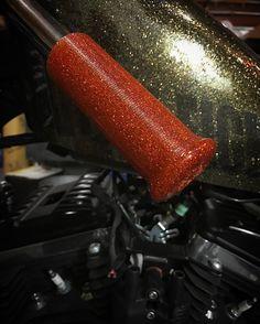 SSC UFO Orange Flaked Galaxy Grips #chopper #bobber #hotrod #galaxygrips #orange #metalflake #sevensinschoppers #yamaha #harleydavidson #sportster #triumph #honda #madeinusa