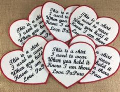 Memory Pillow Patches SET of 6 - SEW ON Heart Shaped Patches, This is a shirt I used to wear, Memory Patches, In Remembrance, Hearts#heartshapedpatches #memorypatches #thisisashirt