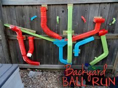 39 Coolest Kids Toys You Can Make Yourself I like this idea for a backyard ball run Kids Outdoor Play, Outdoor Play Areas, Backyard Play, Backyard For Kids, Outdoor Playground, Outdoor Fun, Diy For Kids, Playground Ideas, Outdoor Toys