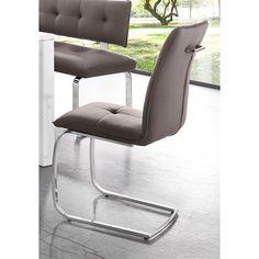 Lot de 4 chaises design en imitation cuir - Taupe- Vue 1