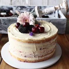 Make this Fresh Cherry Cake recipe from scratch! Soft and moist vanilla cake meets 5 ingredient cherry pie filling and creamy vanilla buttercream. #cherrycake #cake #baking #recipe