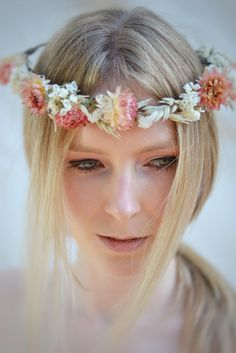 Pink and Natural Flower Crown for Bride by CGWeddingFlowers on Etsy
