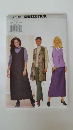 Butterick Sewing Pattern 3208 Women's/Women's Petite Vest, Jumper, Skirt and Pants in size 22W, 24W, 26W