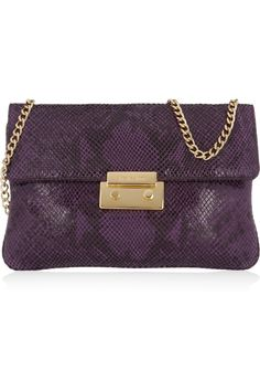 Sloan python-effect glossed-leather clutch by MICHAEL Michael Kors