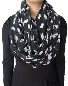 Bunny Print Infinity Scarf-Black and White
