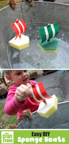 Sponge boat craft for kids, ideal for water play or bath time. This is a fun Summer craft and DIY toy to make for kids. Preschoolers will love them! #summer #boatcraft #kidscraft #kidsactivities #summercrafts #diytoys #spongecrafts #thecrafttrain Creative Activities For Kids, Easy Crafts For Kids, Summer Crafts, Sponge Crafts, Arts And Crafts Projects, Diy Crafts, Boat Crafts, Water Play