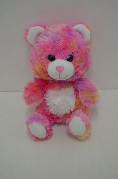 3b479dcc45e Build A Bear  SmallFrys Teddy Bear Tye Dye Pink Orange Heart Nose Stuffed  7