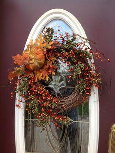 Fall Autumn Grapevine Door Wreath Decor..