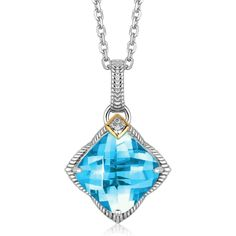 A gorgeous sterling silver pendant featuring a cushion blue topaz stone adorned with unique tapered milgrain edge detailing and a diamond with 18K yellow gold b