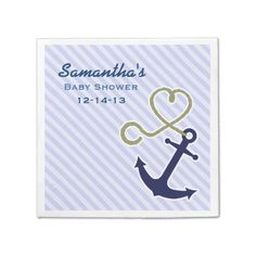 Shop Cute Nautical Anchor Boy Baby Shower Custom Napkins created by prettypicture. Baby Shower Napkins, Party Napkins, Cocktail Napkins, Monogrammed Napkins, Custom Napkins, Nautical Anchor, Nautical Baby, Baby Party Favors, Baby Pillows