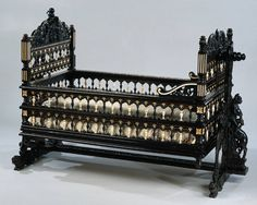 Baroque cradle from the island of Sri Lanka,formerly Ceylon,under Dutch rule in the Seventeen Century made for a Dutch family,constructed from ebony and ivory (second half of century ) at The Rijksmuseum,Amsterdam Victorian Furniture, Old Furniture, Baby Furniture, Unique Furniture, Vintage Furniture, Furniture Design, Amsterdam, Antique Nursery, Baby Doll Bed