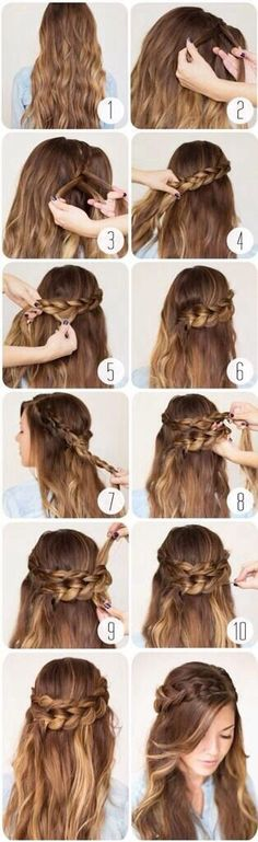 Romantic Braided Crown Hairstyle Tutorial; the benefits of having my hair down, with the benefit of a half-up crown. I think I'll use this for prom