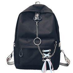 Canvas School Backpack Female School bags for Teenage Girls Mochila Feminina Escolar Women Backpacks Chain Laptop Bagpack bolsos Animal Backpacks, Cute Backpacks, Girl Backpacks, School Backpacks, Canvas Backpacks, Lace Backpack, Striped Backpack, Laptop Backpack, Fashion Backpack