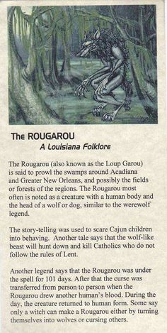 The Rougarou - (Roo ga roo) aka. Loup Garou, Louisiana folklore I know this thanks to Supernatural Legends And Myths, Urban Legends, Dark Legends, Mythological Creatures, Magical Creatures, Gods And Goddesses, Deities, Fairy Tales, Werewolves