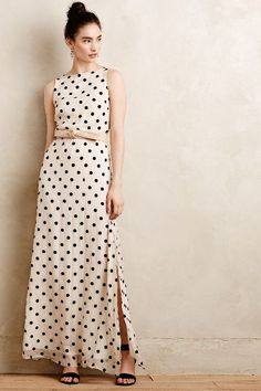 Flocked Dot Maxi Dress - anthropologie.com