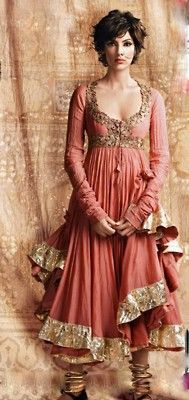 Saw this anarkali in the Lakme ad a few years ago, love the colour, gold hem, and neckline