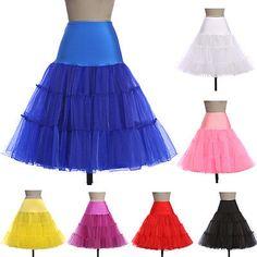 Great idea for under short dresses. BLUE-50s-Retro-26-Swing-Vintage-Petticoat-Rockabilly-Tutu-Fancy-Net-Underskirt